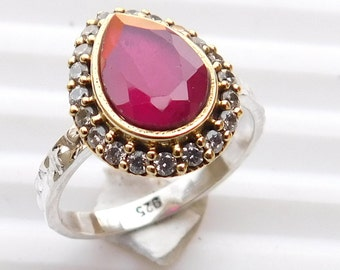 Red Ruby Fine Ring Ruby , Zircon Faceted Ring Sterling Silver Ring Ruby Gemstone Ring Two Tone Ruby Silver Ring  Red Ruby Ring Size 7 E-142