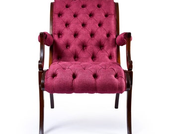 Burgundy Deep Buttoned Antique Reupholstered Occasional Chair