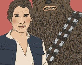 Han Solo and Chewbacca Star Wars Illustration Matte Coated Illustrated Print