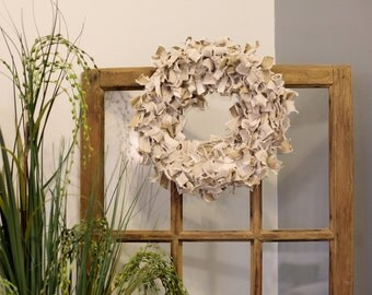 Reclaimed Canvas Couch Cover Fabric Wreath