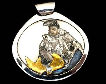 Engraving of Ebisu with Tai fish