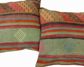 Pair of Vintage Turkish Hand Woven 100% Wool Kilim Cushion Covers (Pillows) Size 50 cm x 50 cm