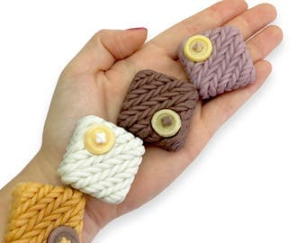 Decorative Guest Soap (Three Pack)     Knitted Sweater/Mitten Pattern With Button    Mini Travel Size    Housewarming Gift    All Natural
