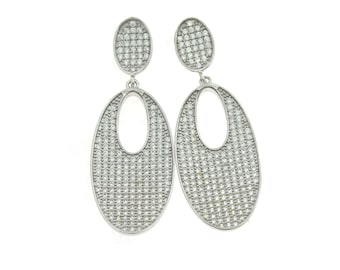 zirconates hypoallergenic earrings 925 sterling silver plated with white gold size 4.7 cm