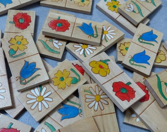 Game, box of dominos, vintage wooden, flowers, game for children, 1960, Old game of dominoes flowers, perfect state wood