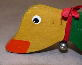Toy push duck, retro, baby/toddler set, wood, 1970, Duck push toy, retro baby / child play, wood