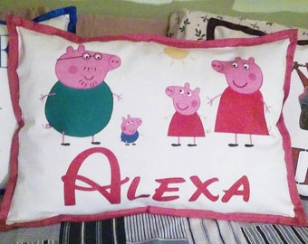 Peppa Pig and Family Personalized pillows