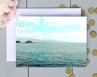 Save the date card Nautical Style Personalized Printable save the date wedding announcement card Sea Coastal custom Save the date invitation