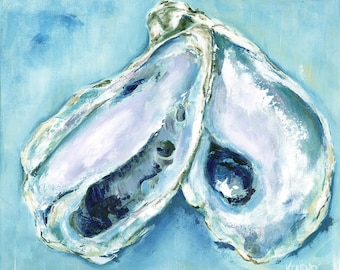 Sophie's Oysters Chesapeake: Fine art giclee oyster print of original acrylic oyster painting