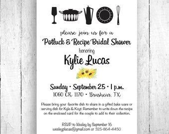 Potluck Recipe Shower Invitation, Potluck Wedding Shower, Recipe Bridal Shower