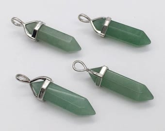 3pcs Green Jade Gemstone Pendant,Stone Pendant,Gemstone Point Pendant,Unakite Stone Necklace Pendant