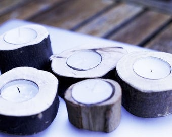 SET OF 10!  Rustic Tea Light Wood Candle Holders - Perfect for Weddings and Parties! 100% Australian Wood