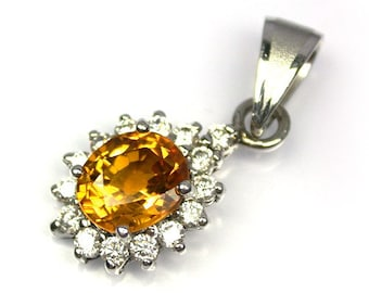 2.3 ct yellow golden sapphire pendant silver sterling.