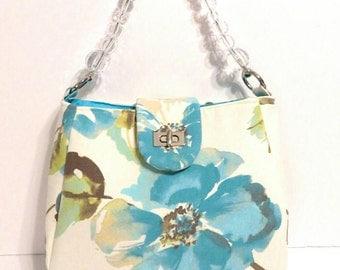 Blue flower purse - top handle bag - spring purse - floral bag - flower purse - blue flowers - pocketbook - spring bag - floral fabric