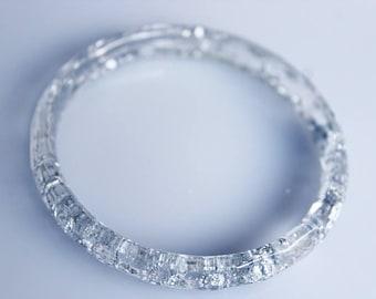Bangle, clear, silver, beveled