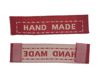 10 x Red Fabric 'HAND MADE' Label Tags to Sew in to Hand Made items - c. 4.2cm wide