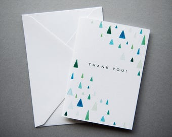 Thank You Cards // 1 pack / 5 pack / 10 pack // A6 Charity Greetings Card // Blue & Green Triangle Watercolour Cards