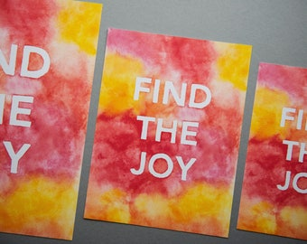 """Find The Joy Print // 5x7"""" / 6x8"""" / 8x10"""" // Charity Print // Red/Orange/Pink/Yellow Colourful Watercolour Block Letter Print"""