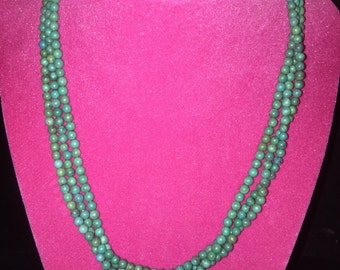 Great 3-strand Turquoise Beaded Necklace with Sterling Clasp