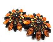Sample Orange and Black Tiger Eyelet Tassel Base