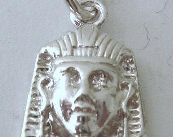 Genuine Solid 925 Sterling Silver Tutankhamun Egyptian Pharaoh Charm/Pendant