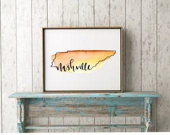 Nashville Tennessee Watercolor Print | TN | Nash | Vanderbilt | Music City