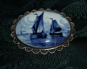 Very Rare Large Delft Brooch of Sailing Boats.