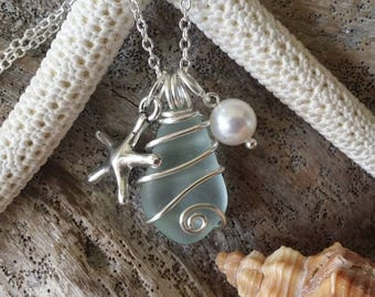 Handmade in Hawaii, Genuine surf tumbled sea glass. Wire wrapped necklace. Starfish charm, Natural pearl, Hawaiian Beach glass jewelry.