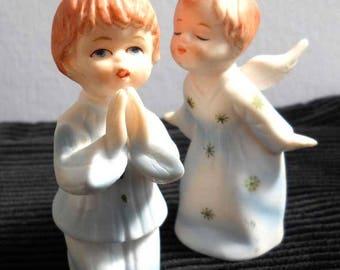Pottery Angel Child Pair Japan Vintage