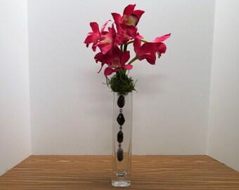 Unique Home Decor-Stone & Orchid Floral Arrangement