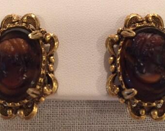 Vintage Florenza Cameo Earrings