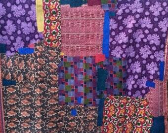 Vintage Multicolour Kantha Reversible Quilt, Patchwork Kantha Bedspread, Indian Blanket, Patchwork Throw, Coverlet