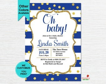 Royal Blue Baby Shower Invitation, Oh Baby Shower Invitation, Boy Baby Shower, Blue & Gold, Custom Digital Printable, C13