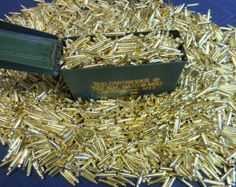 223 / 556 Once Fired Brass 1000 + Pieces with Ammo Can. This brass is great for reloading, jewelry making and other crafts. Ready to Ship