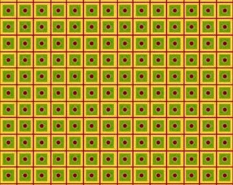 By The HALF YARD - Tool Time by Janet Selck for Northcott, Pattern #3518 Red and Yellow Grid Lines with Green Squares and Red Dot