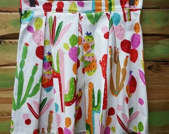 Mexican cactus folkloric colourful mini skirt size AUS/UK 10