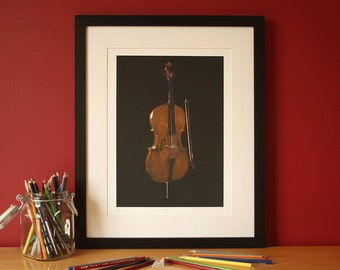 Cello pencil crayon glicee print, illustrated by Steve Barker. Designed and printed in the UK