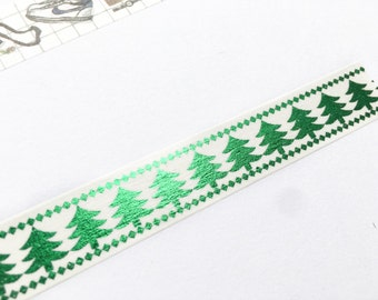 Christmas Tree Green Gold Foil Washi Tape 15mm/ X'mas Washi Tape/ Holiday Washi Tape/ Masking Tape/ Gift Wrapping
