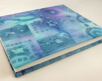 Blank cloth cover notebook - journal - sketchbook - diary - cloth spine - reclaimed materials - tie-dye
