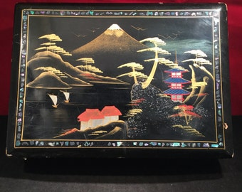 Japanese Shell Inlayed Black Lacquer Music Jewellery Box (Mount Fuji) (Blue Danube Waltz) 1950's