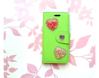 Green And Pink Glitter Heart iPod Touch 5th & 6th Generation Case With Rhinestones