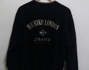 Vintage michiko London sweatshirt spellout embroidered/black/japannese style