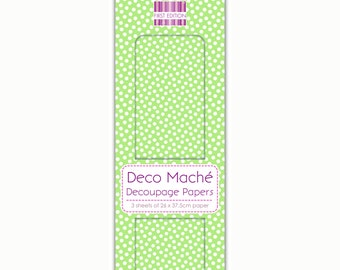 Green Polka Dot Pattern Decoupage Papers x 3 - First Edition