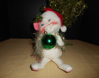"""VINTAGE ANNALEE 11"""" Christmas Kitten w/Ornament Made in USA 1994"""