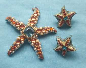 KENNETH JAY LANE for Avon Starfish and Matching Earrings