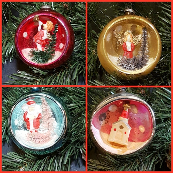 Sale 20 off vintage christmas ornaments 4 diorama christmas for Christmas ornaments sale