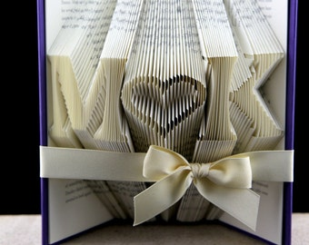Folded Book Sculpture Anniversary Gift,  Personalized Wedding Gift, Book Art Wedding Anniversary Gift, Book Sculpture Monogram Initials