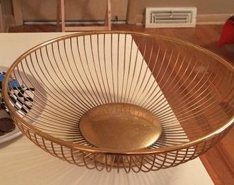 Vintage Eames Mid Century era 1950's Bowl Brass Basket