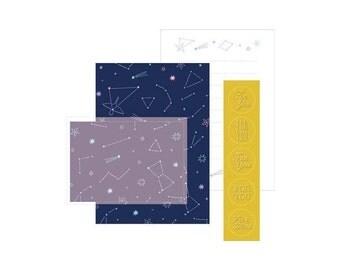 Mini Constellation Letter Writing Set, Cosmic Stationery Set, Stationery Paper Set, Small Letter Set