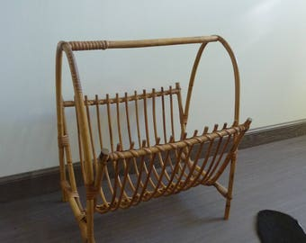 Magazine rack bamboo and rattan, 1960s vintage